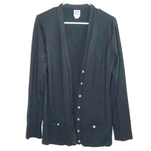 Anne Klein black long sleeve cardigan size XL